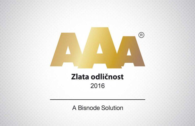Certifikat zlate bonitetne odličnosti AAA 2016