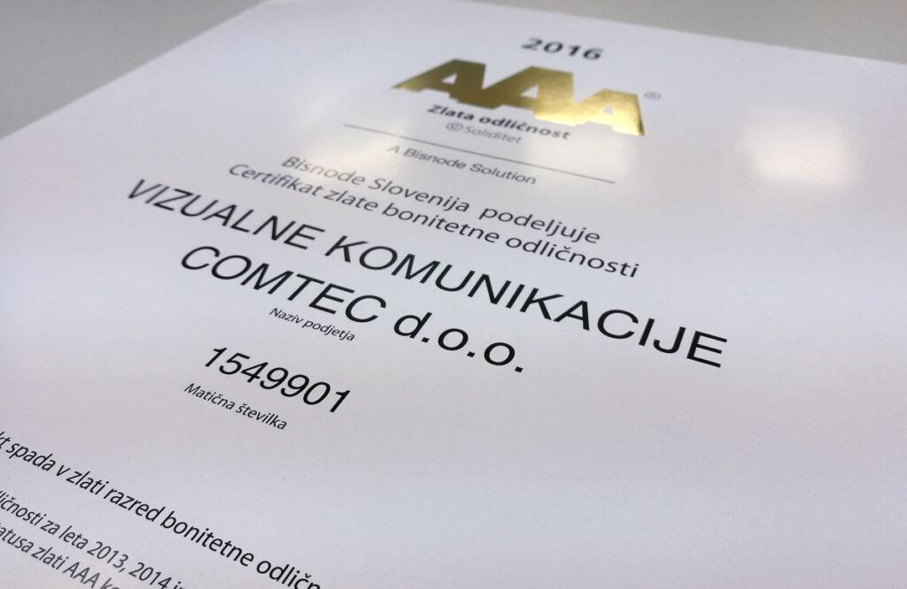 Prejem zlate bonitete AAA 2016